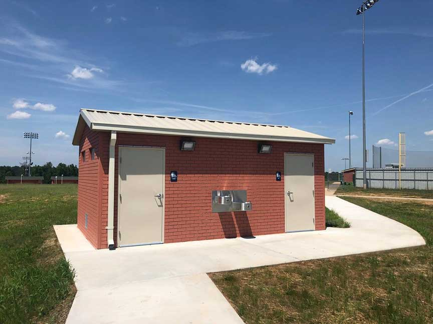 Smith Columbia Easley High School athletic field Easi Set precast concrete restroom